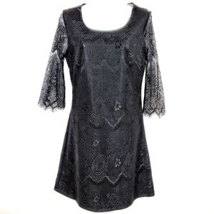 ANTHRO SOLITAIRE | Lace Overlay Ponte Knit Dress S